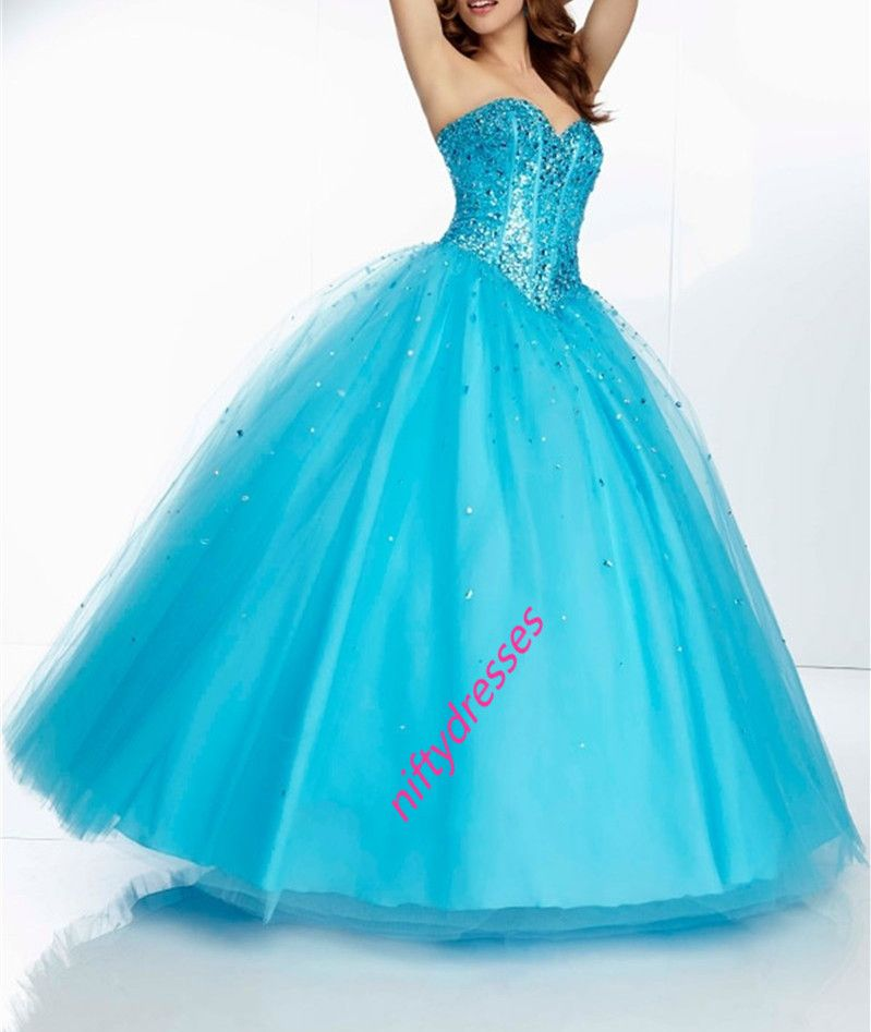 Custom Made Blue Ball Gown Prom Dresses,Beading Crystal Ball Gown ...