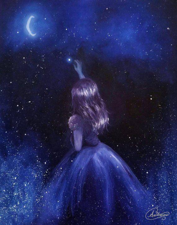 Reach for the Stars, Star Girl in Space, Stars, Galaxy [unframed Original Fine Art Print]   Beautiful dark art, Anime art beautiful, Star painting