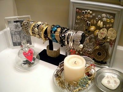 jewellery storage from towel rack frame with screen and beautiful