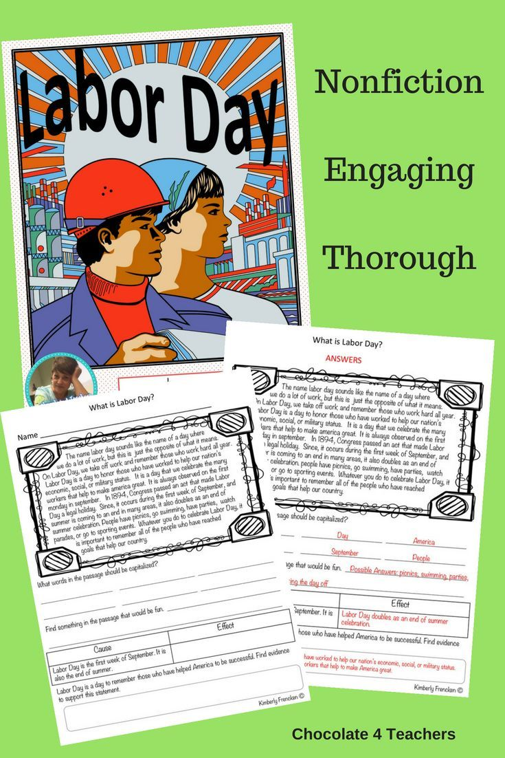 Labor Day Thinking About Two Americas >> Labor Day Non Fiction Passages And Printables Comprehension