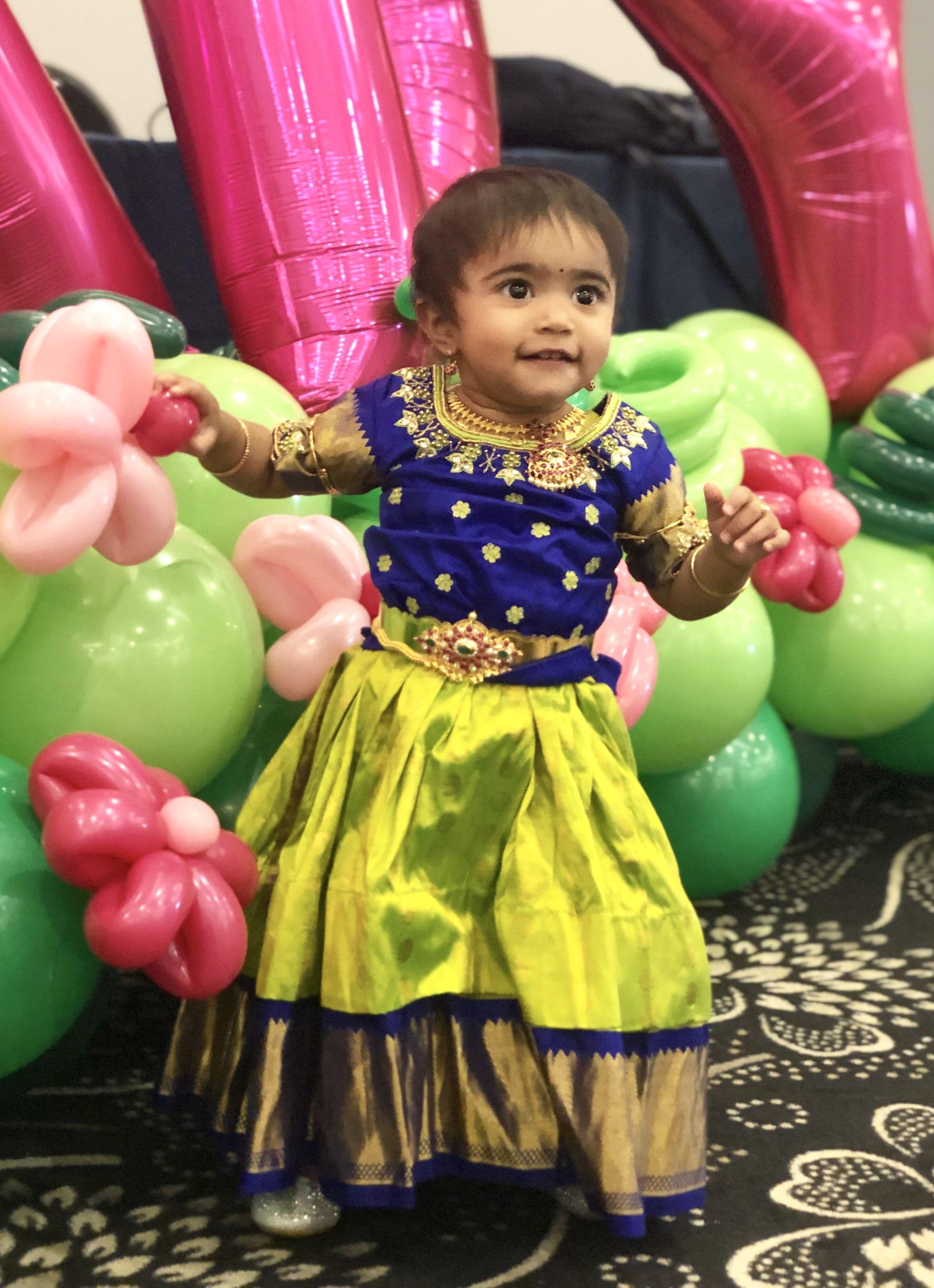 Baby Infant Green And Royal Blue Kanchi Pattu Langa Pavadai Kids Blouse Designs Dresses Kids Girl Kids Party Wear Dresses