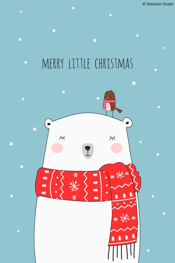 Printable Christmas Card Polar Bear