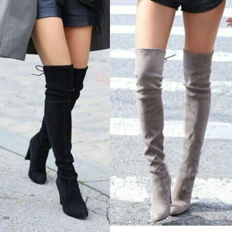 12fe0427bdd9 Women Stretch Faux Suede Slim Thigh High Boots Sexy Fashion Over the Knee  Boots High Heels Woman Shoes Black Gray Winered-in Women s Boots from Shoes  on ...