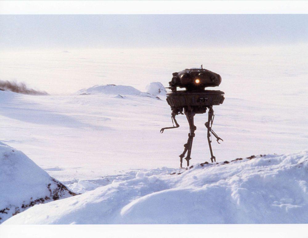 viper probe droid in empire strikes back film still - color photo - matte painter sample resume