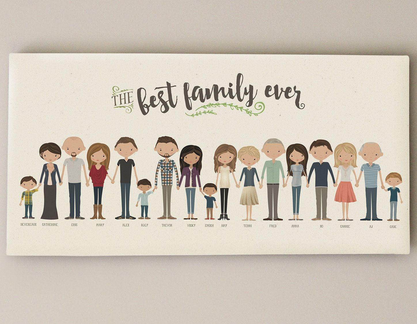 This listing is for a custom-illustrated family portrait that is ...