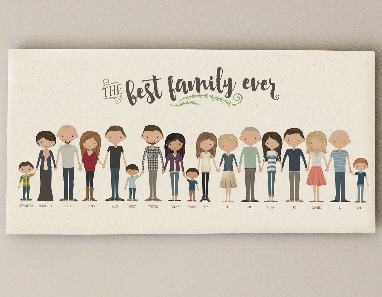 Extended Family Portrait • Grandparent Gift Custom Family ...