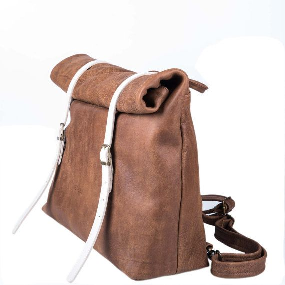 Free shipping Nitzan Brown Rucksack with roll up by Meckela, $420.00