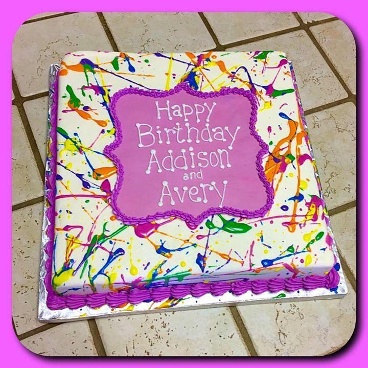 Remarkable Paint Splatter Cake Art Birthday Party Painting Birthday Personalised Birthday Cards Sponlily Jamesorg