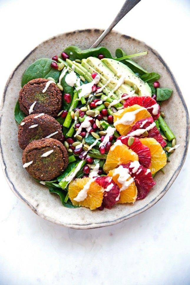 Falafel Veggie Bowls With Tahini Dressing.