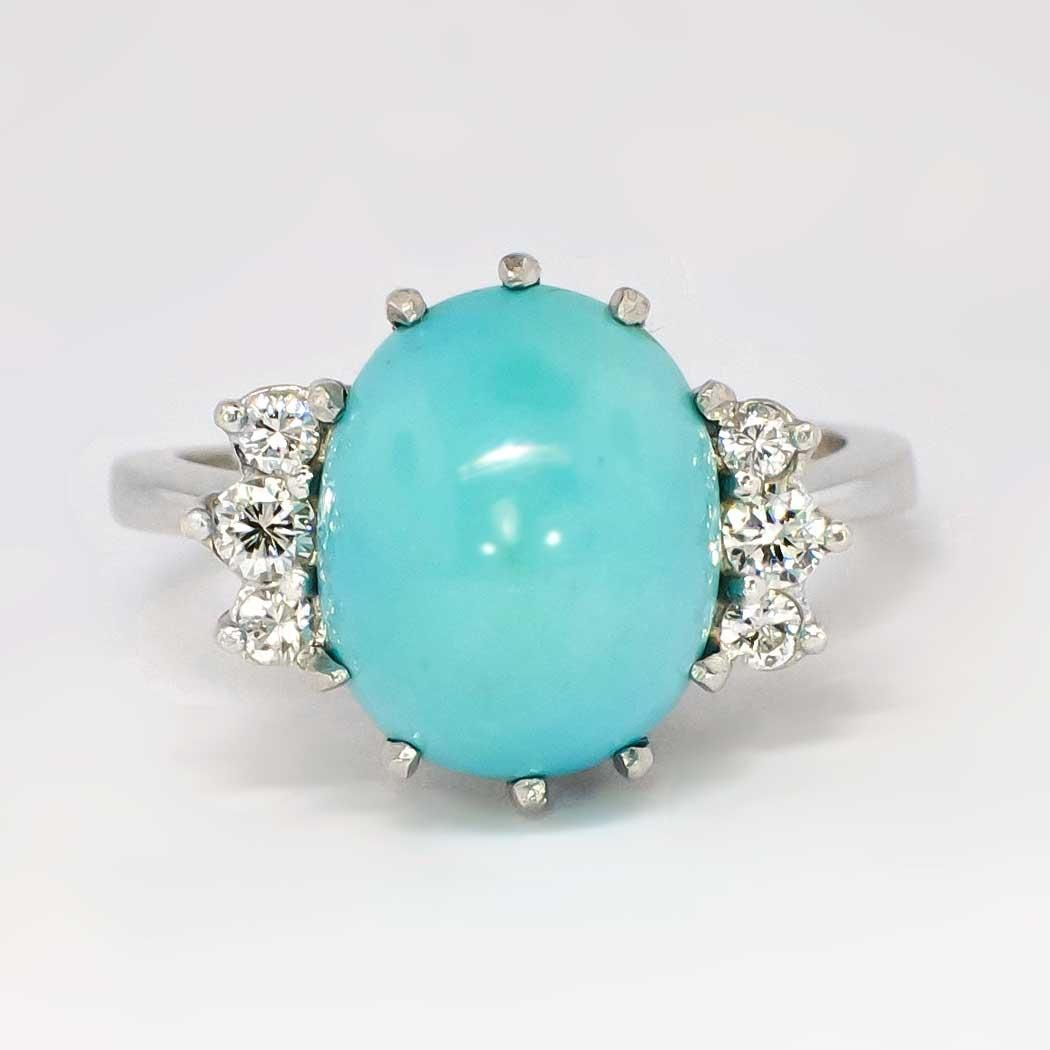 Beautiful Retro 9.57ct t.w. Robin's Egg Blue Turquoise & Diamond Ring from jewelryfinds on Ruby Lane