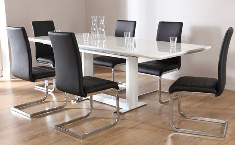 Tokyo White High Gloss Extending Dining Table And 6 Chairs Set Perth Black