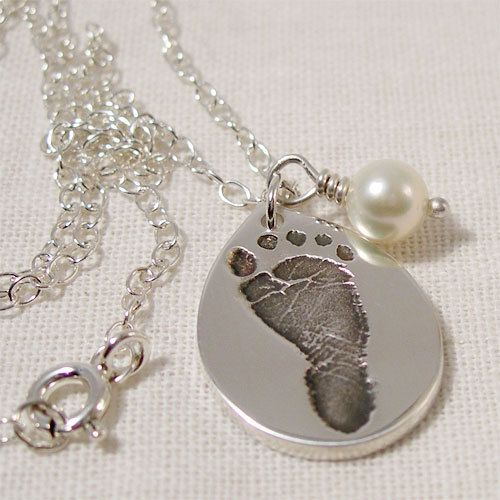 New born baby footprint jewelry silver child footprint teardrop new born baby footprint jewelry silver child footprint teardrop necklace freshwater pearl new mom aloadofball Choice Image