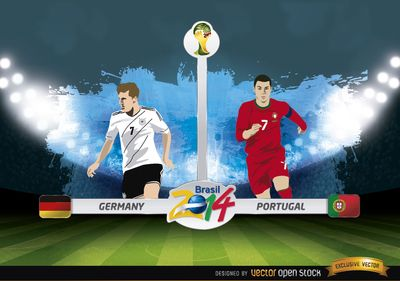 Germany Vs Portugal Match Brazil 2014 Free Vector Download Germany Vs Fifa World Cup World Cup
