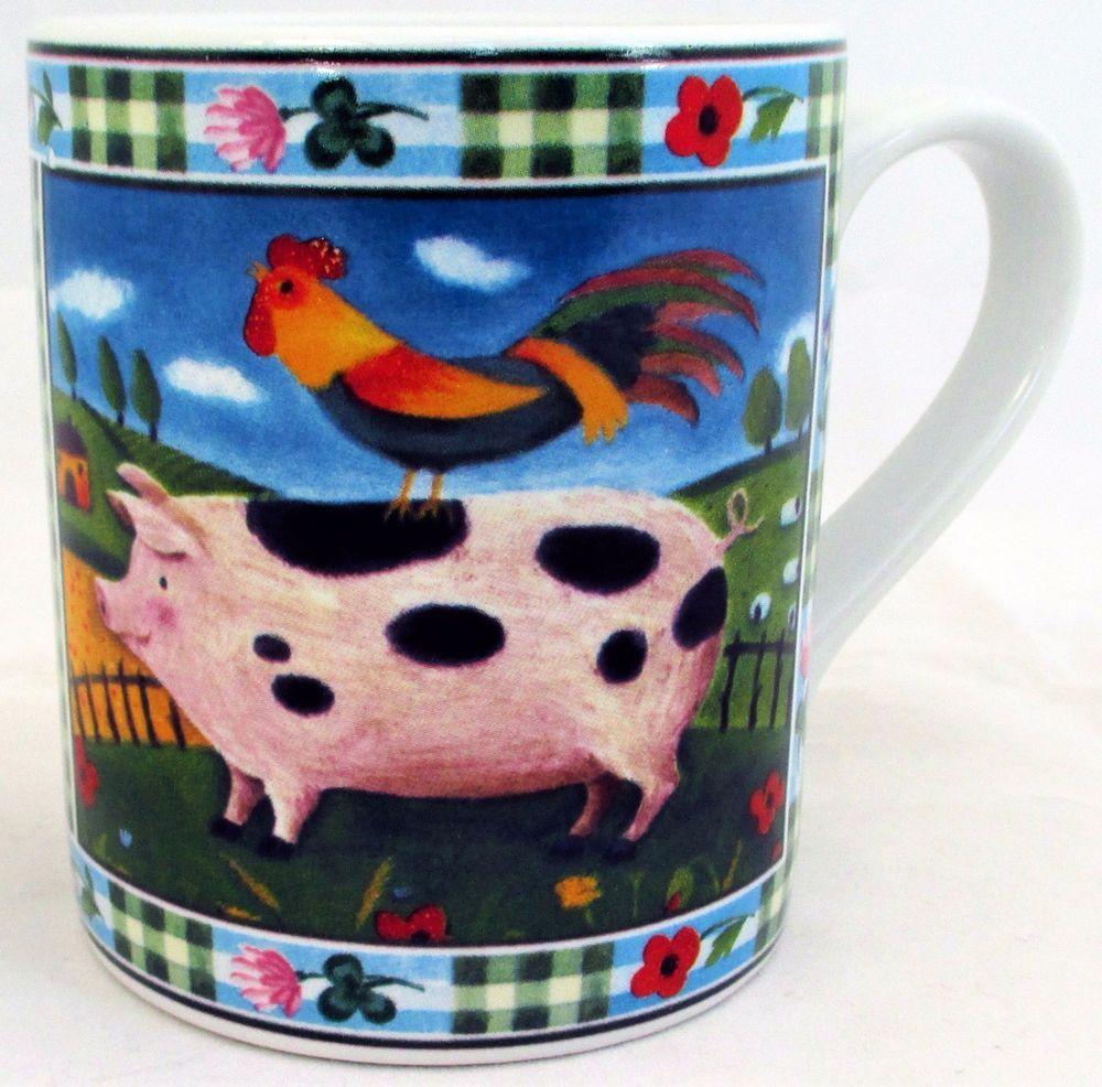 Pig Mug Exclusive Funny & Cute Pig Farm Scene Porcelain Mug Hand Made in UK #RainbowDecorsLtd #ArtDeco