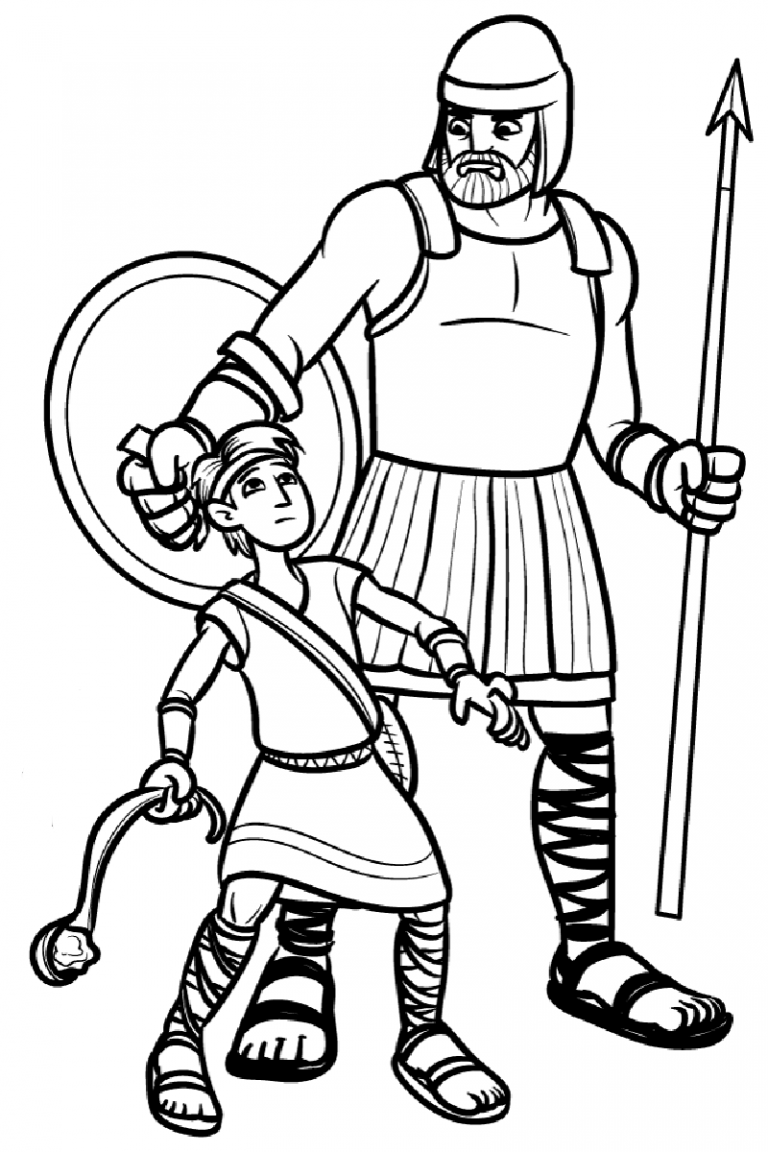 Free Printable Coloring Pages David And Goliath - Coloring Home | 1152x768