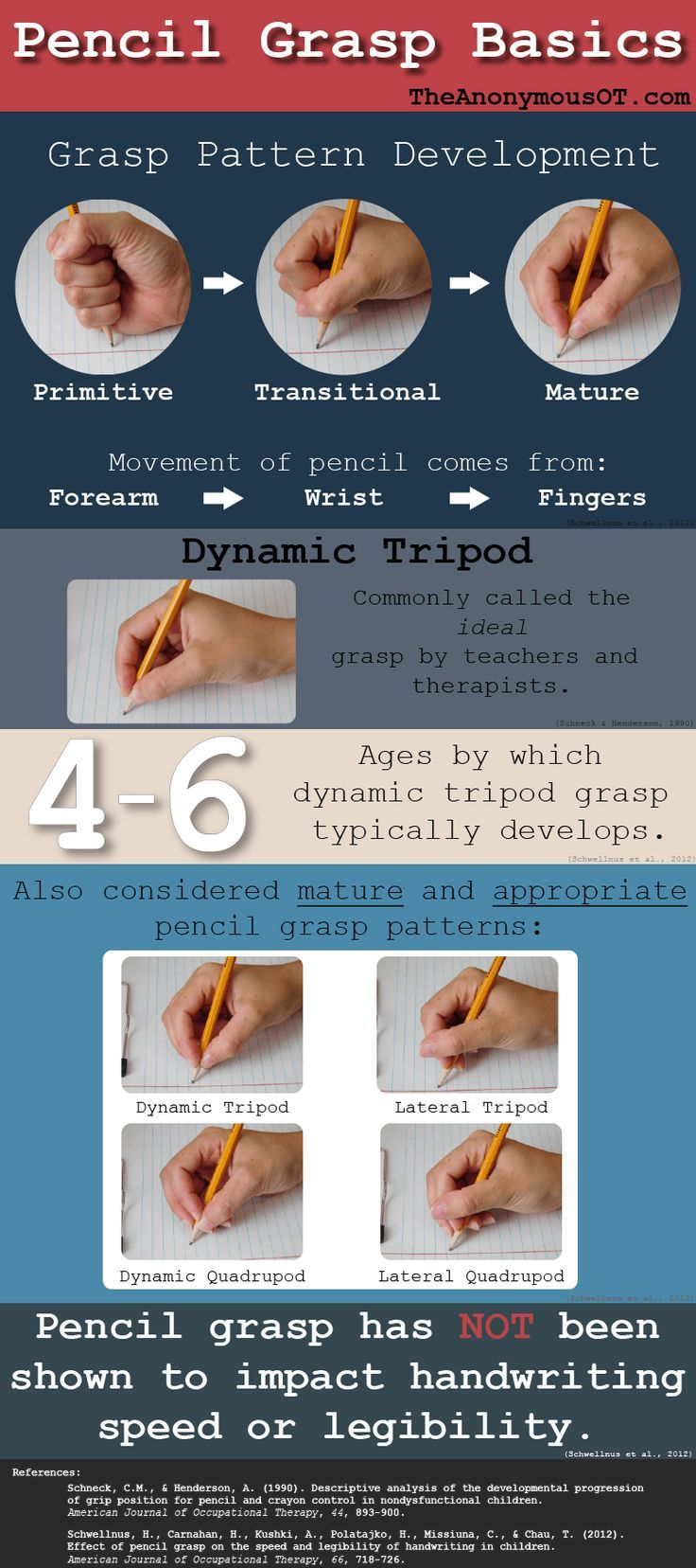 A helpful infographic with the most important pencil grasp basics you need to know for fine motor s