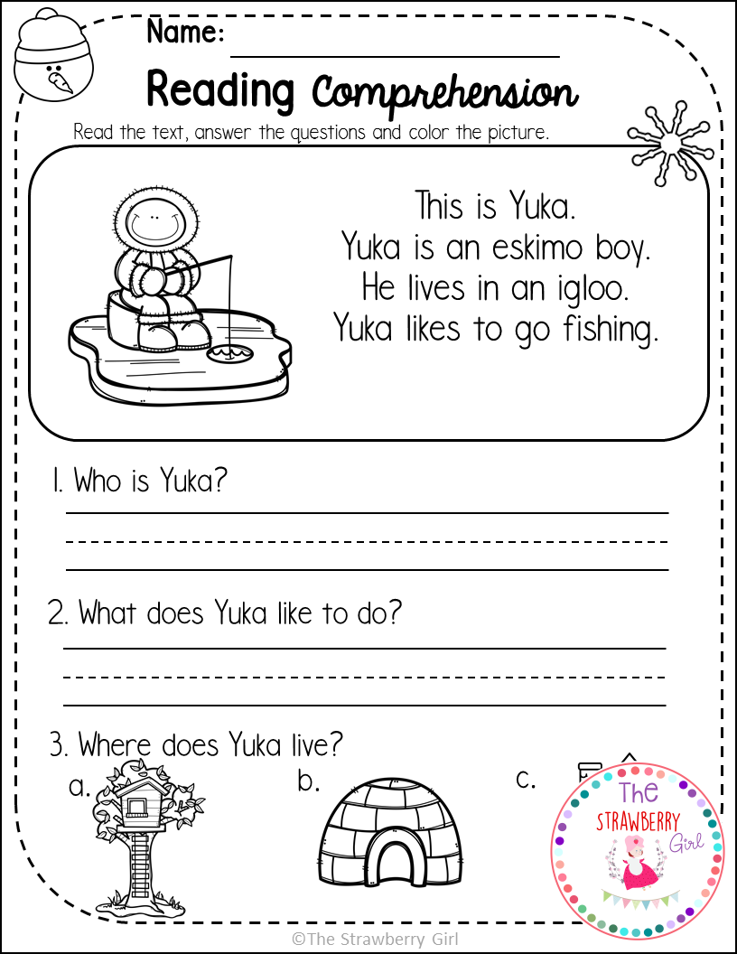 - Kindergarten Reading Comprehension Passages - Winter (With Images