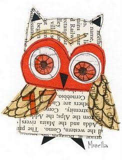 kierrätyskirjoista ja väripaperista tussilla suloisia pöllöjä