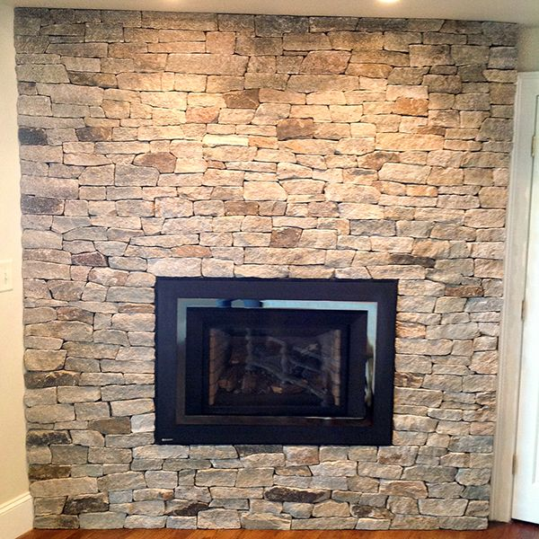 Colonial Tan Ledgestone Thin Stone Veneer Fireplace http