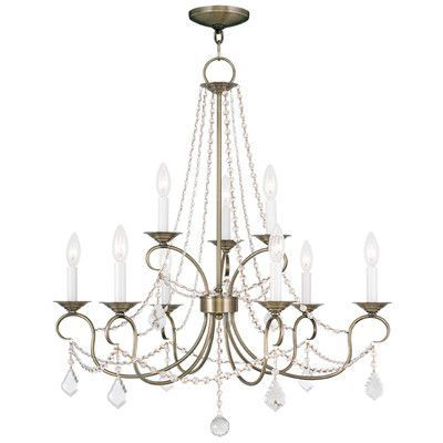 House of Hampton Uttoxeter 9 Light Crystal Chandelier Finish: Antique Brass