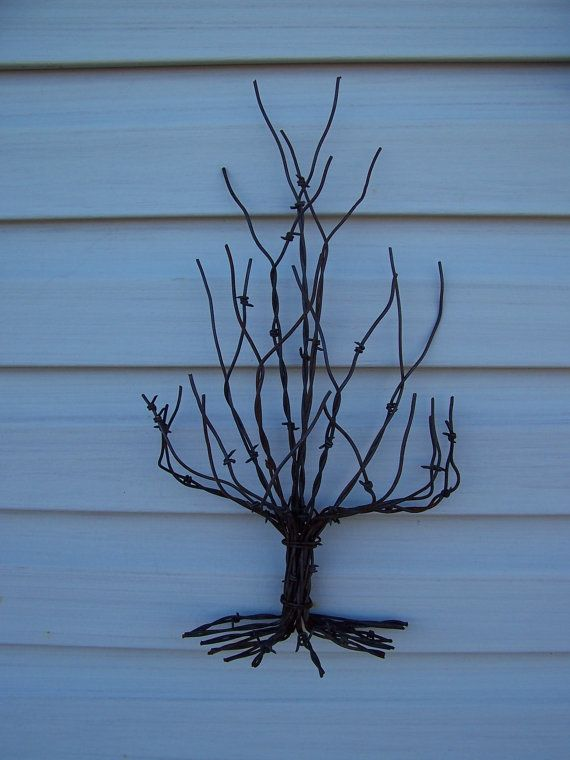 Metal Wall Hanging Art, Christmas Tree Made From Recycled Barbed ...