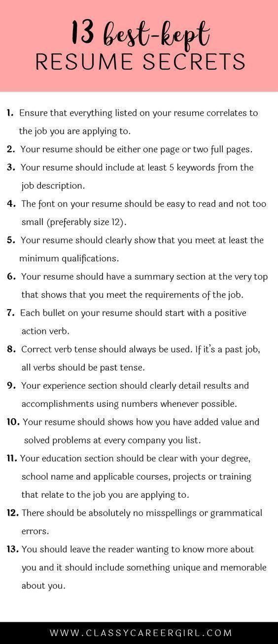 The 13 Best-Kept Resume Secrets Resume Tips Pinterest Resume