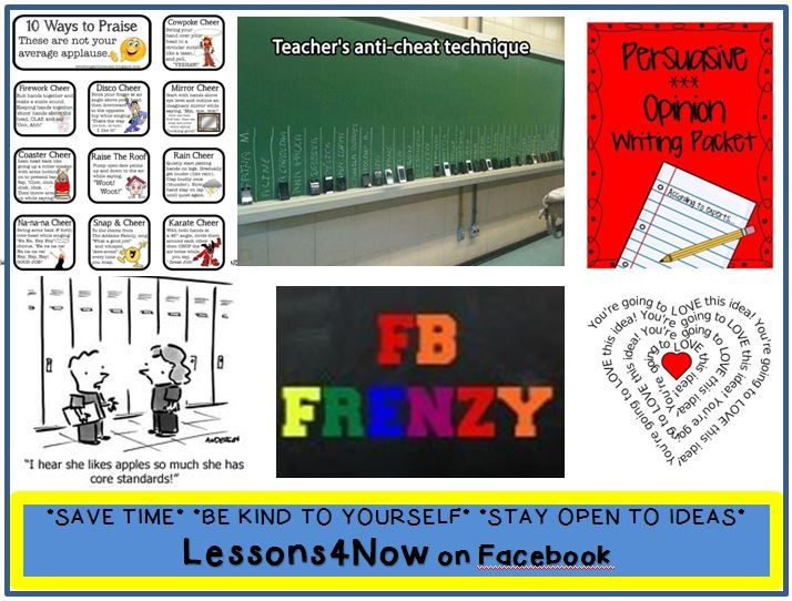 "Lessons4Now on Facebook~  Check out the time-saving tips, humor, tools for the classroom, and news bytes.  There's a lot to ""like!"""