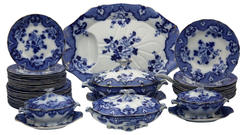Antique Flow Blue Dinner Service 41 Pcs Rose Victoria Brands One Kings Lane Dinner Service Antique Blue And White Dinnerware Flow Blue Blue White Decor