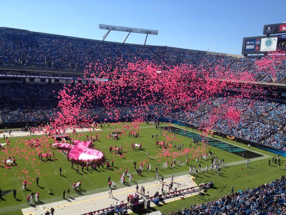 Pink balloons released at Sunday's panther game Panthers