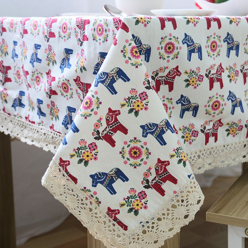 New Arrival Table Cloth European Cartoon Horse High Quality Cotton Lace  Universal Tablecloth Decorative Table Cover Hot Sale
