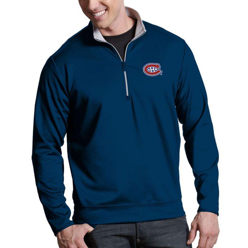 Montreal Canadiens Antigua Leader 1/4-Zip Pullover Jacket - Navy