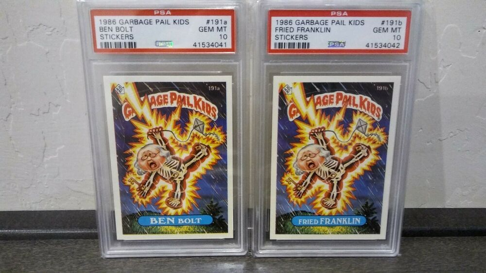 1986 Garbage Pail Kids 191a Ben Bolt 191b Fried Franklin Twins Psa 10 Gem Mint Garbage Pail Kids Kids Pail