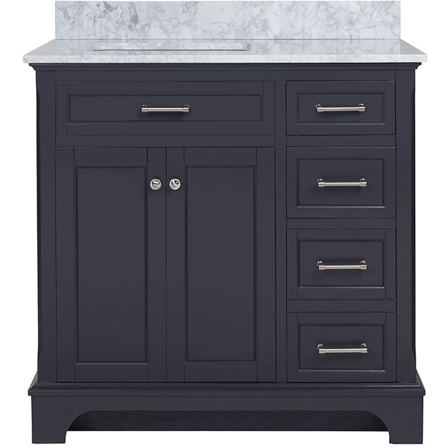 Diamond Bathroom Vanity - Allen roth roveland gray undermount single sink birch bathroom vanity with natural marble top