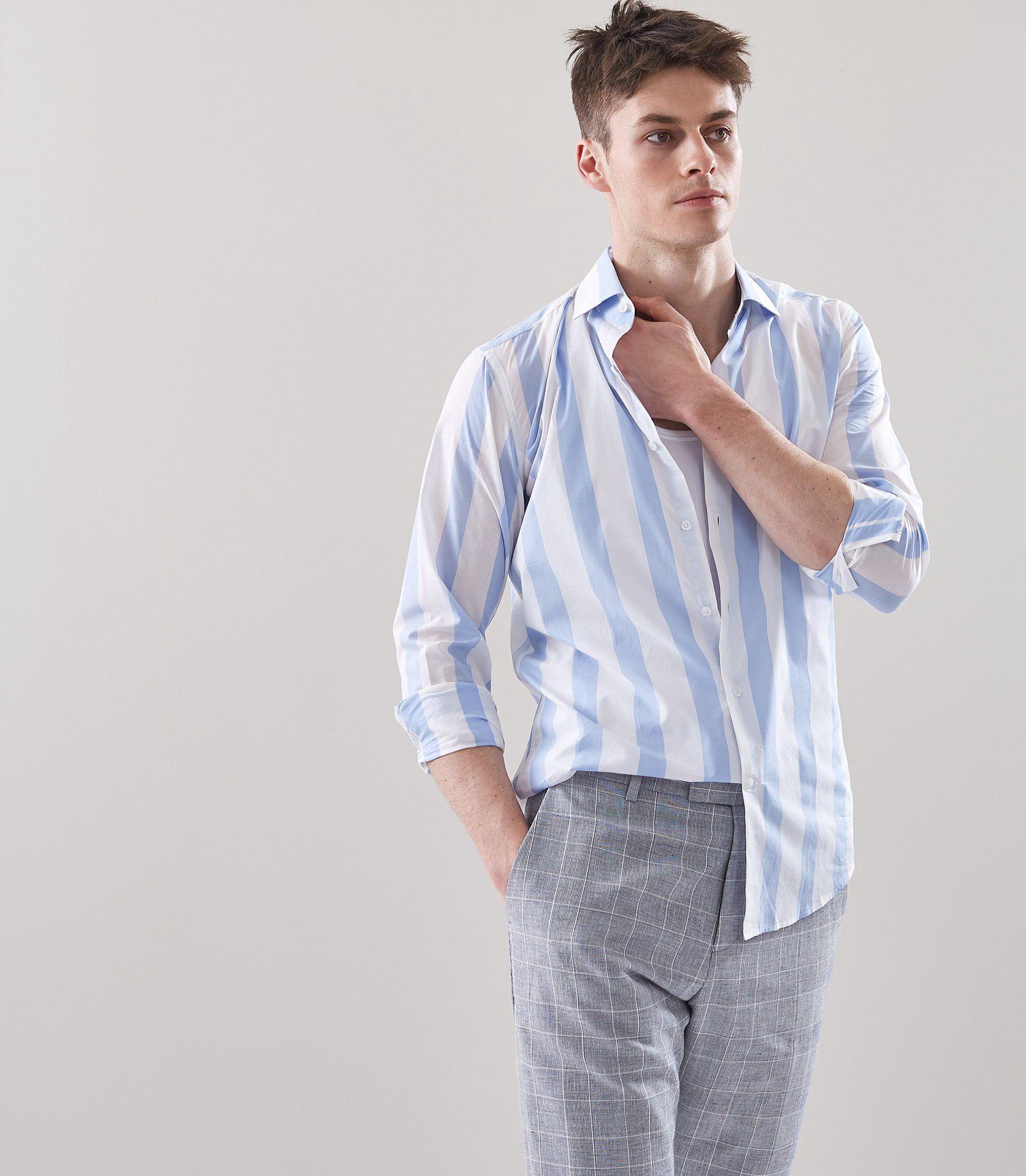 c8da2e8602 Reiss Marcus Wide Striped Shirt Soft Blue - XXL | Products | Blue ...