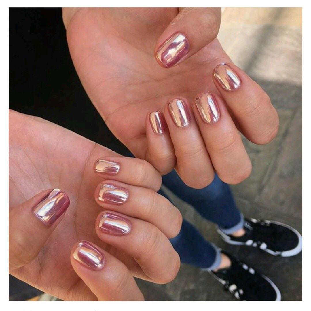 Rose Gold Chrome | Nails art | Pinterest | Diseños de uñas, Uñas ...