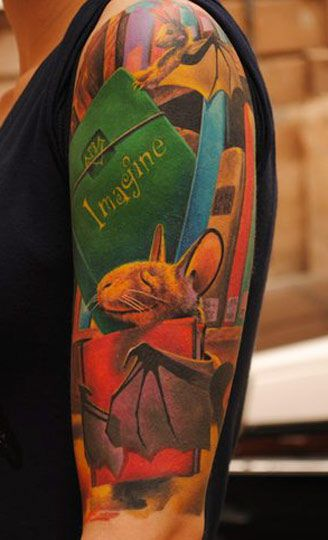 Adorable bats and books half sleeve by David Sivak