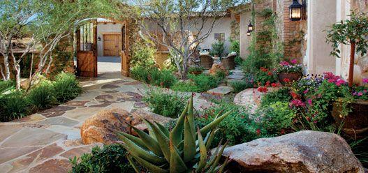 desert home. front garden landscape