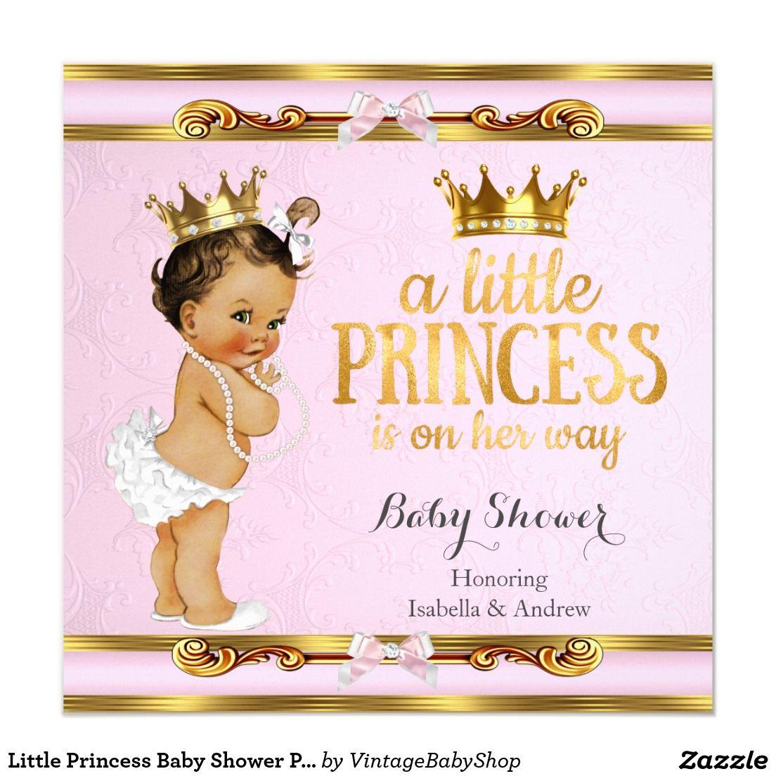 Little princess baby shower pink gold brunette invitation little princess baby shower pink gold brunette invitation filmwisefo