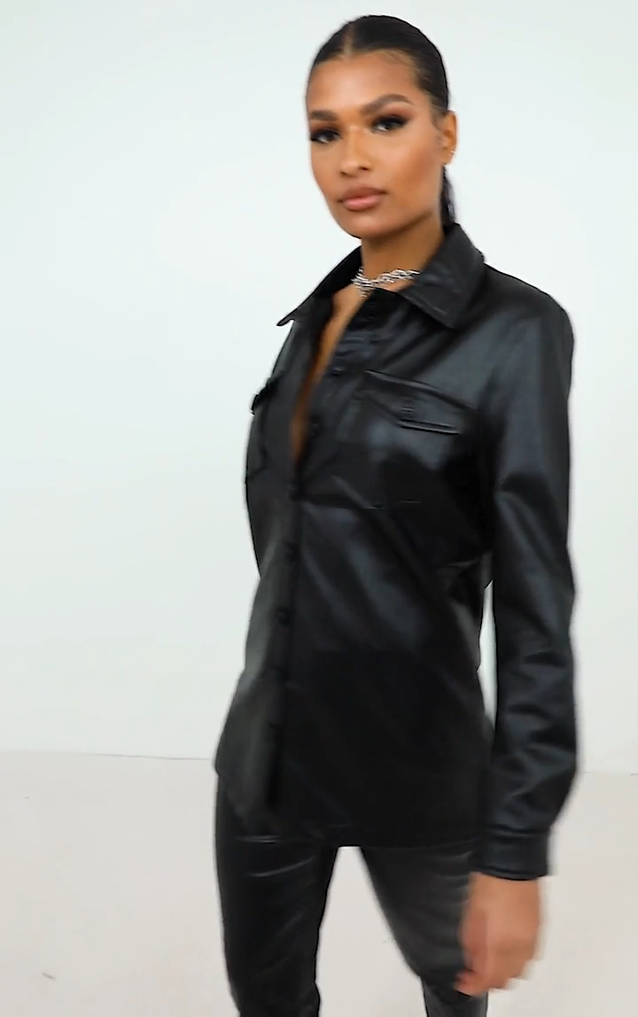 Photo of BLACK FAUX LEATHER LONGLINE SHIRT JACKET