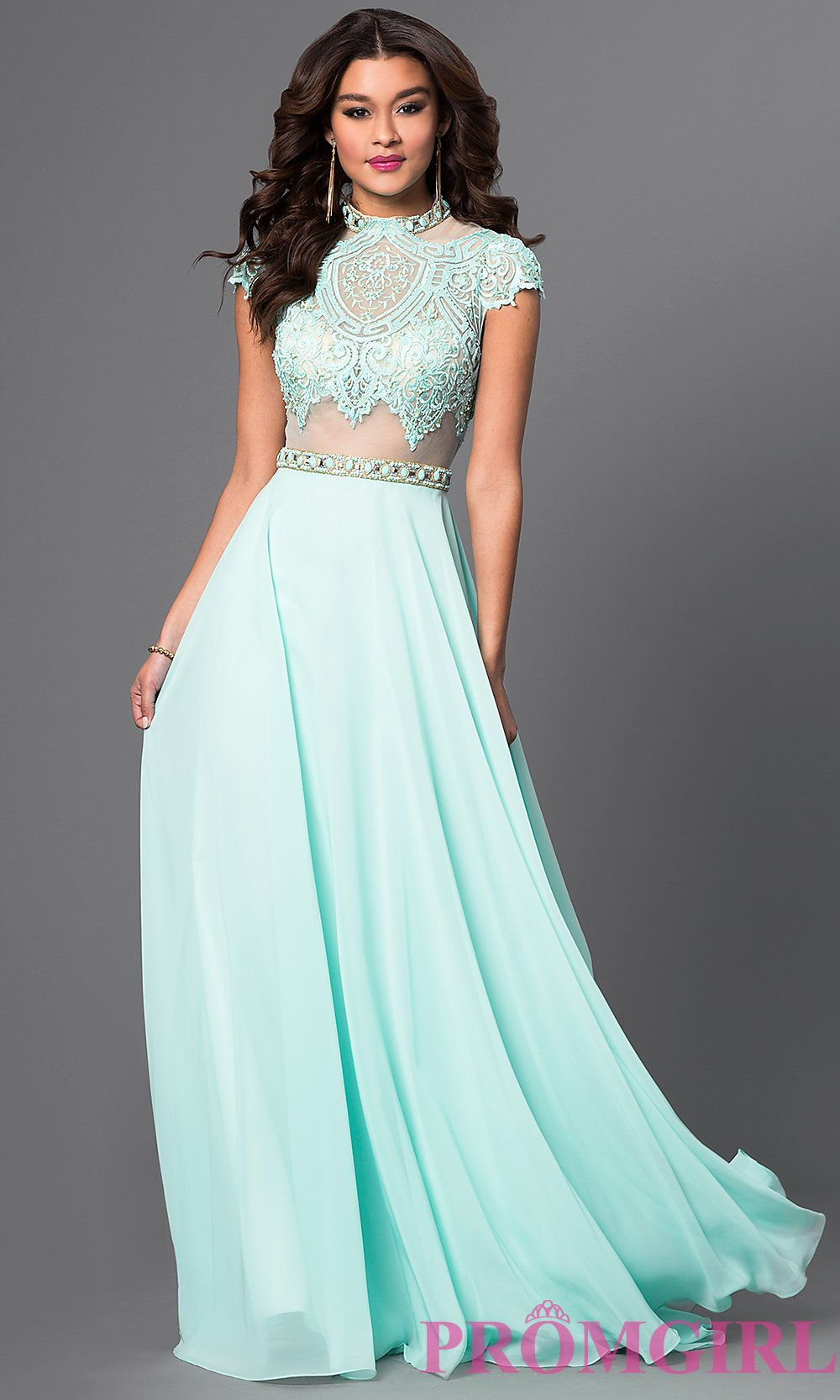 Image of floor length high neck cap sleeve lace top dress Front ...
