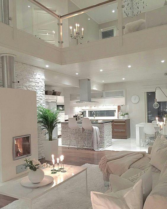 Diseño de cocina junto a salón. Elegante diseño con el color ...