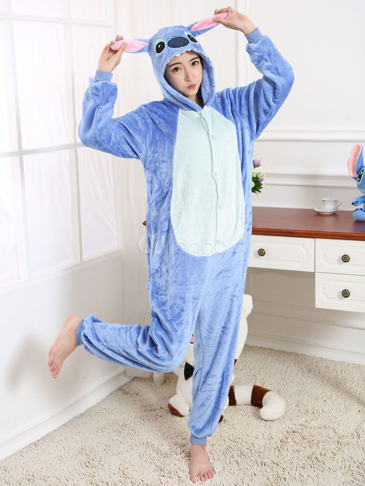 6635a74e6 Kigurumi Pajama Stitch Onesie Blue Flannel Cartoon Sleepwear For Adult With  Zipper Back Halloween