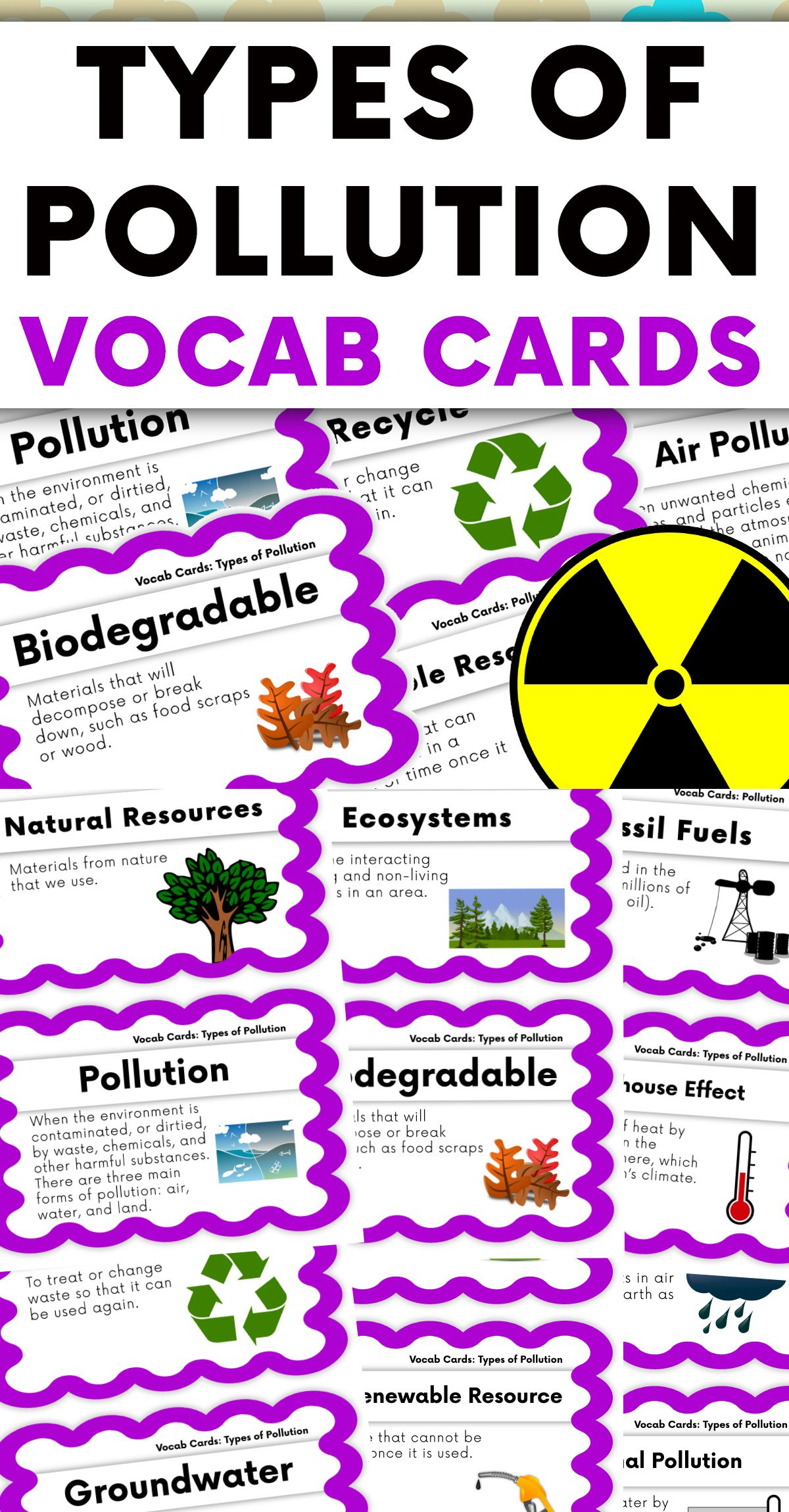 Humans And The Environment Types Of Pollution Vocabulary