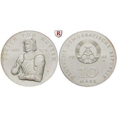 DDR, 10 Mark 1988, von Hutten, f.st, J. 1622 10 Mark 1988