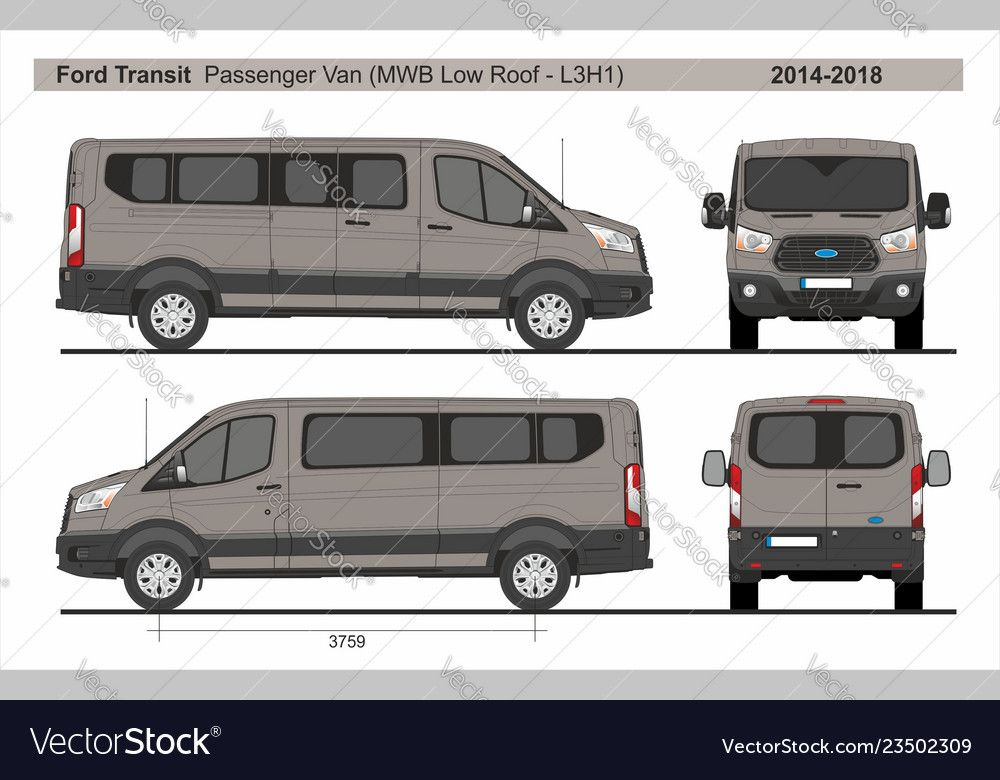 Ford Transit Passenger Van Medium Wheel Base Low Roof Swing Right Door L3h1 2014 2018 Detailed Template For Design And P Ford Transit Cool Car Drawings Van