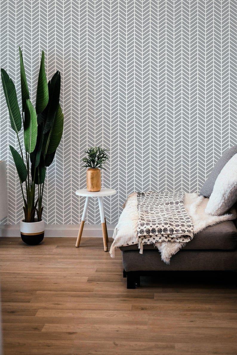 Herringbone Removable Wallpaper Geometric Peel And Stick Etsy Removable Wallpaper Peel And Stick Wallpaper Wallpaper
