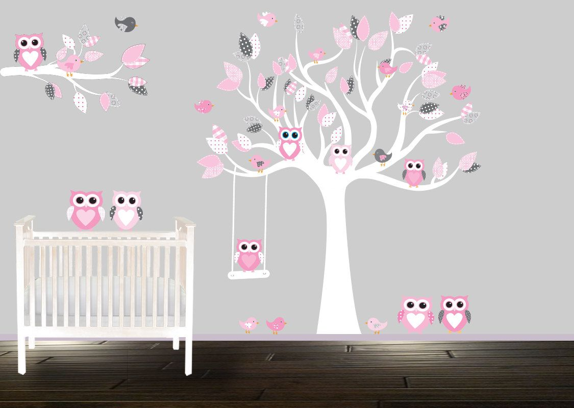 Nursery Tree Wall Girls Decal Stickers Childrens Owl Wall Decals ...
