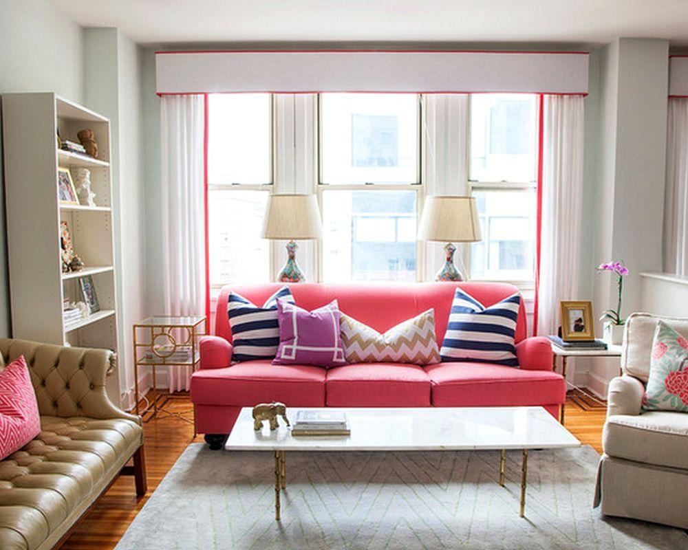 Model Desain Sofa Ruang Tamu Kecil Elegan Unik Terbaru Pink