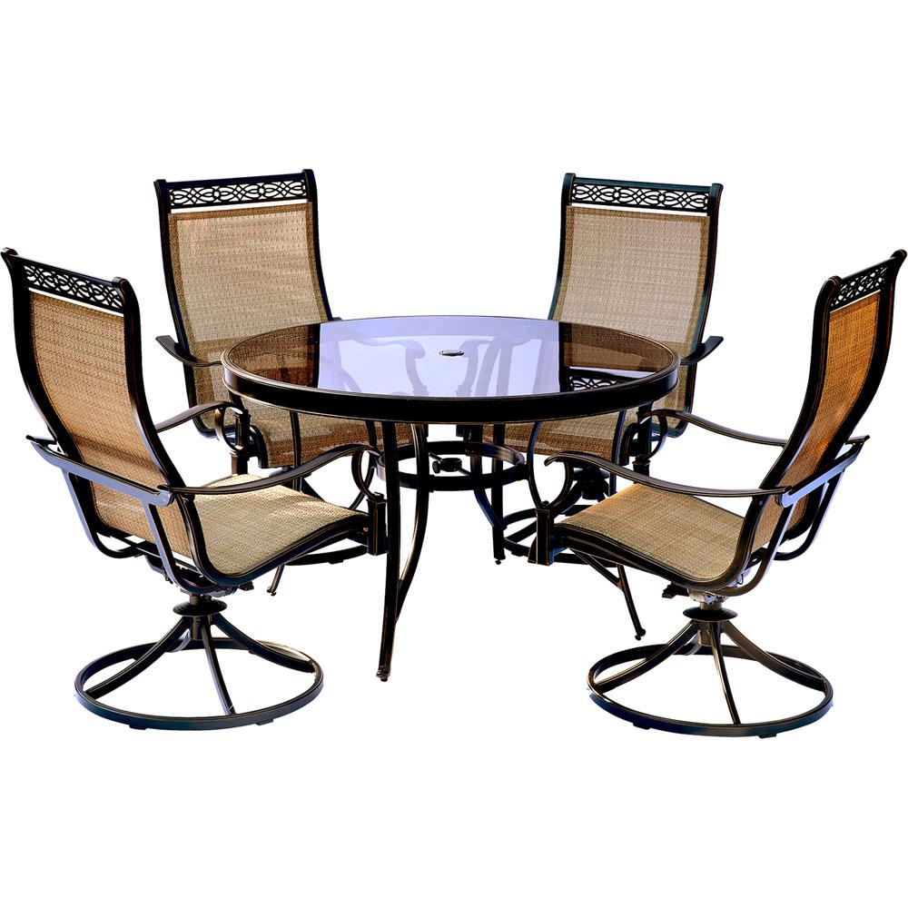 Hanover Monaco 5 Piece Aluminum Outdoor Dining Set With Round Glass Top Table And Contoured Sling Swivel Chairs Glass Top Dining Table Patio Dining Outdoor Dining Set
