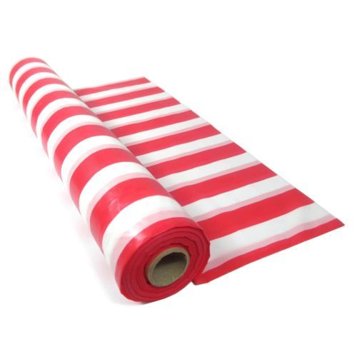 Red White Striped Plastic Tablecloth Table Roll Circus Pirate Party Supplies